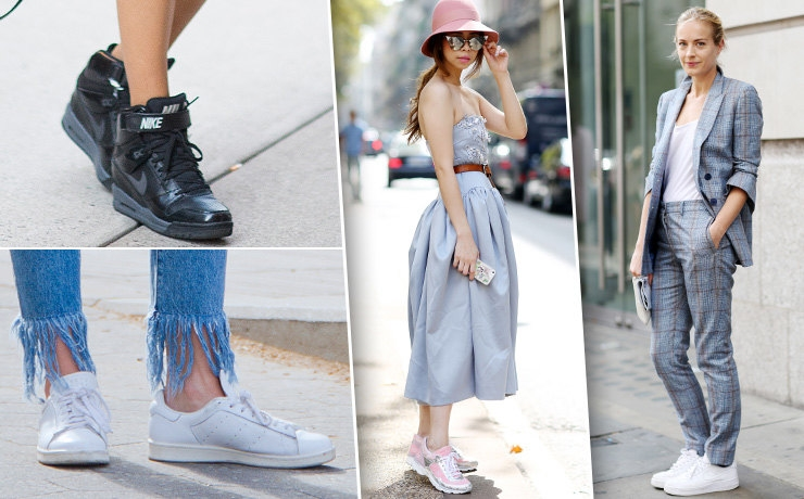 Трендовые кроссовки актуальны практически в любом женском образе.