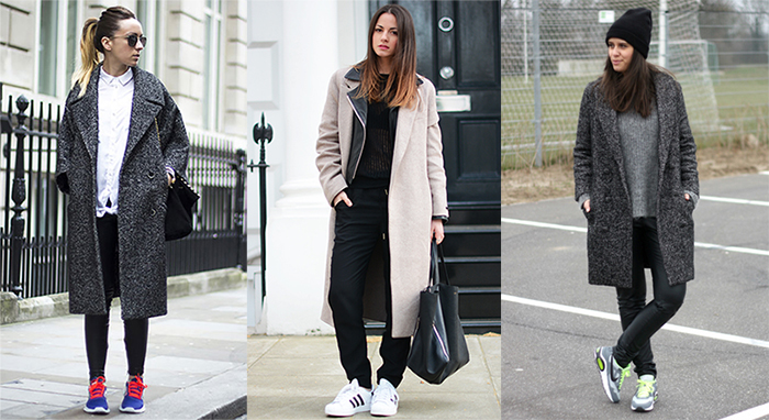Кроссовки всегда уместны в луке с пальто оверсайз.