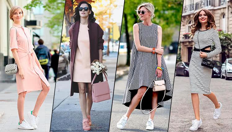 Стильные образы с кроссовками и платьями миди.
