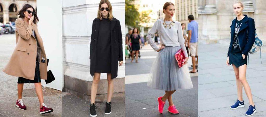 Кроссовки прекрасно вписываются в луки с юбками любой длины и стиля.