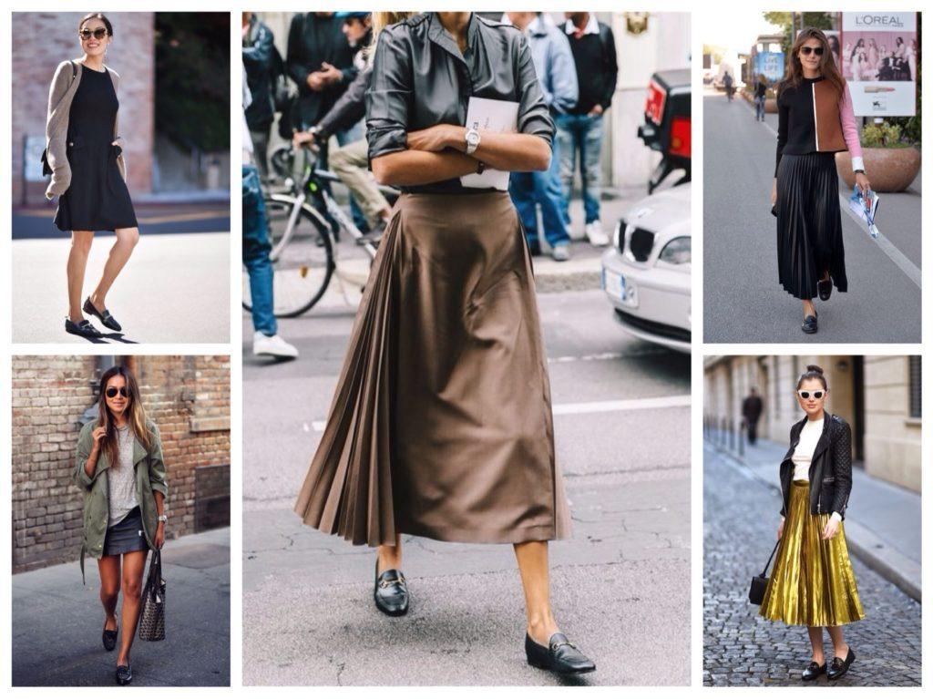 Туфли без каблука отлично дополняют плиссированные платья