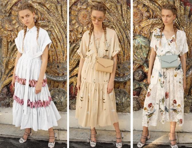 Босоножки на невысоком каблуке хорошо сочетаются с легкими платьями в стиле кэжуал.
