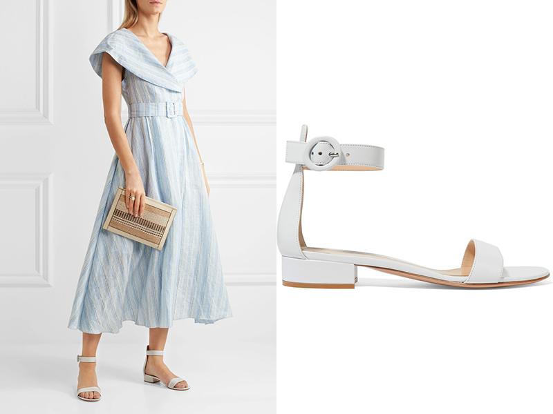 Аккуратные сандали усилят элегантность платья ниже колен.