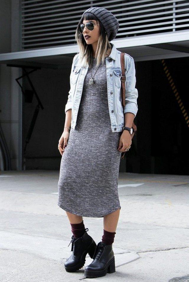 Осеннее платье хорошо смотрится с тяжелыми ботинками.