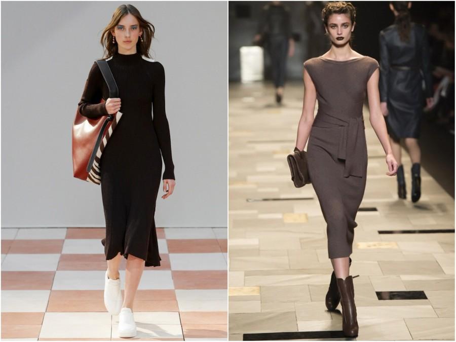 Обувь определяет общий стиль образа с платьем-миди.