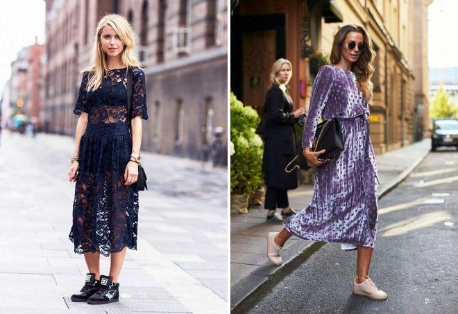 Эффектные платья-миди хорошо смотрятся с классическими кроссовками.