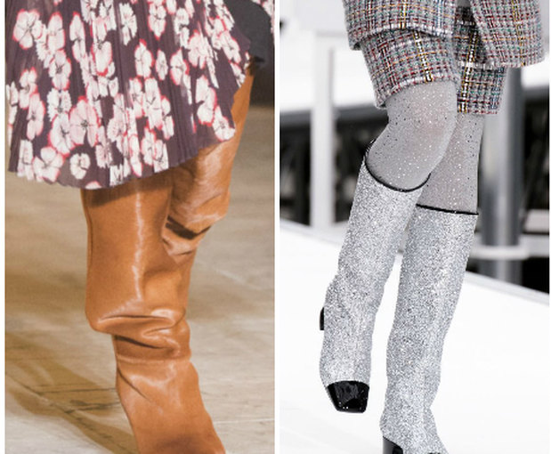 Сапоги с квадратным мысом и стразы — 2 модные тенденции сезона. На фото обувь прекрасно скомбинирована с классическим костюмом из твида.
