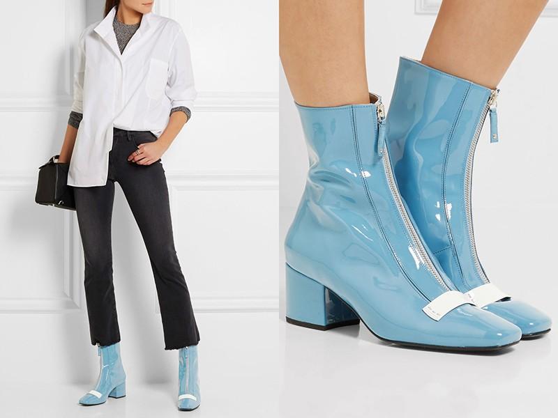 Голубая обувь смотрится освежающе со всеми нарядами. Отличный вариант на весну.