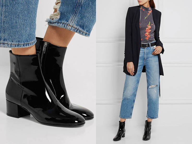 Укороченные джинсы, лаковые ботинки, кофта и длинный темный пиджак — удобный стиль кэжуал.