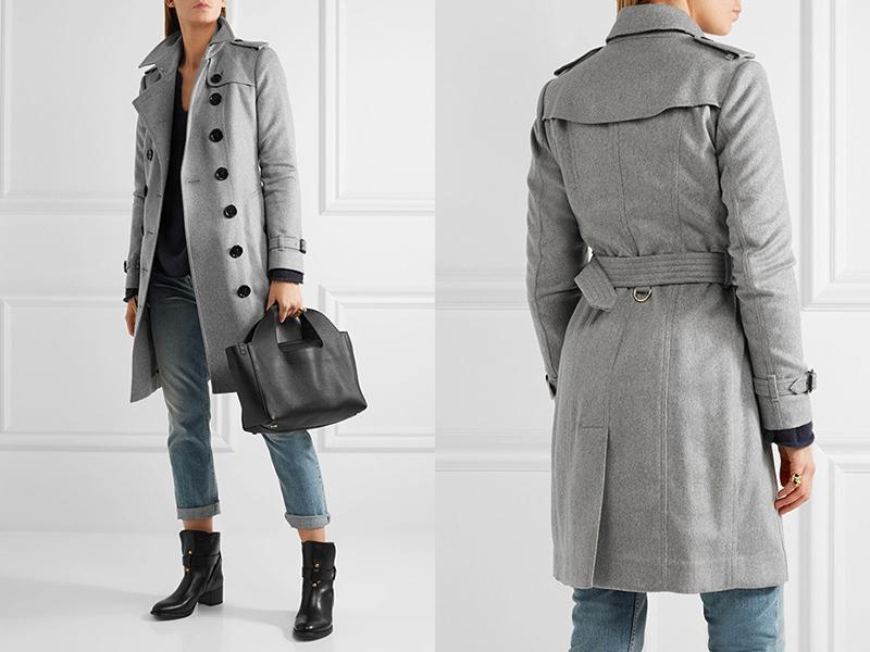 Черная обувь, джинсы и серое пальто подойдут для прохладных осенних дней.
