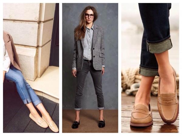 Лоферы и укороченные джинсы — классическое сочетание.