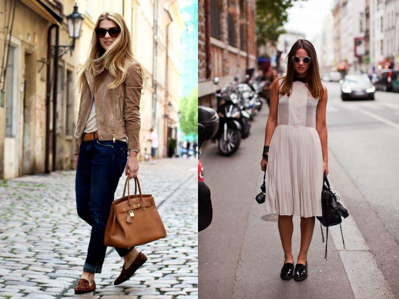 Лоферы носят не только с брюками, но и с платьями.