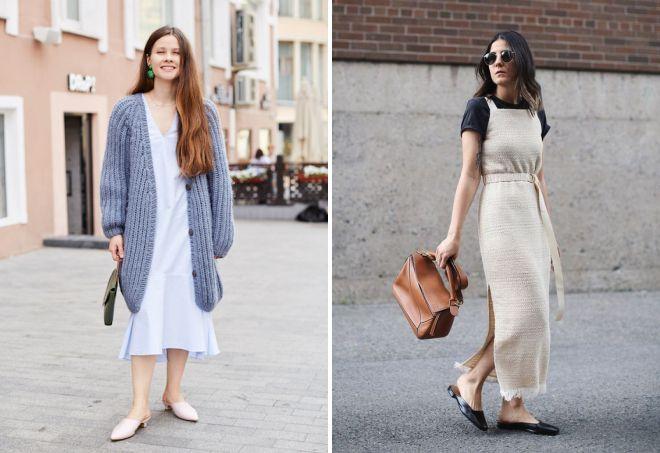 Мюли классно гармонируют с летними платьями миди.