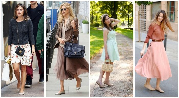 Балетки с юбками плиссе и платьями — всегда удачное сочетание.