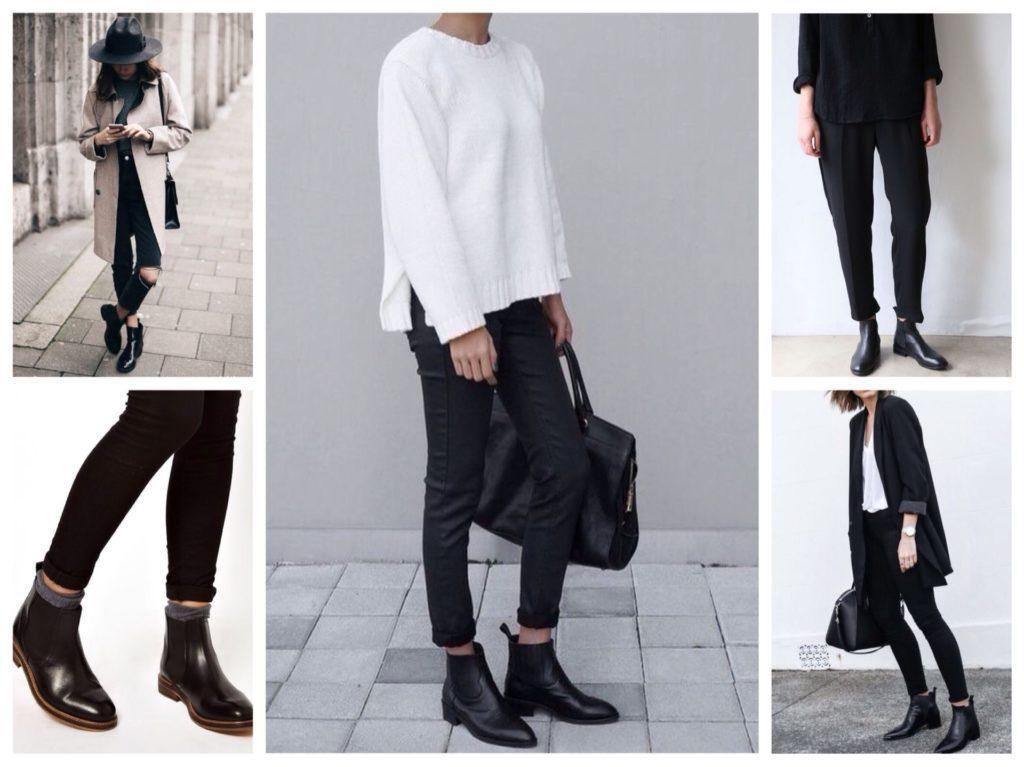 Короткие сапоги, темные брюки, свободный свитер и сумка — повседневный стиль кэжуал.