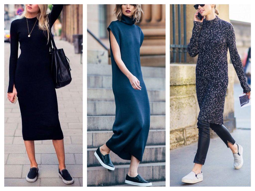 Слипоны с платьями-футляр и оверсайз смотрятся максимально круто.