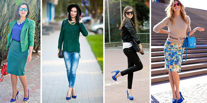 Синие туфли актуальны в гардеробе женщин, предпочитающих самые разные стили.