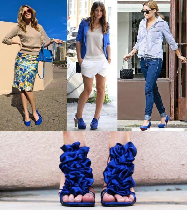 Синие туфли хороши в любых ансамблях: летних, романтических, повседневных.