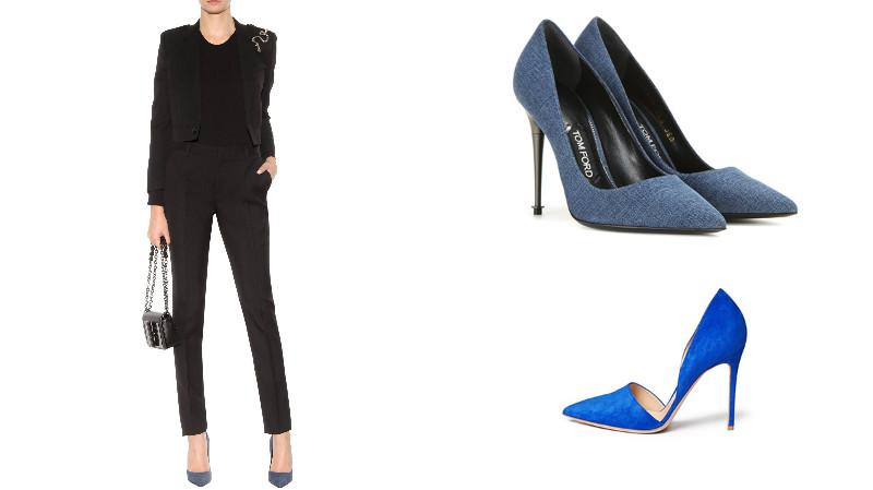 Черный костюм и синие туфли - классика офисного стиля.