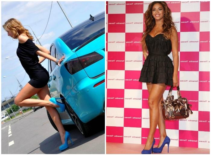 Синие туфельки прекрасно оттенят маленькое черное платьице.