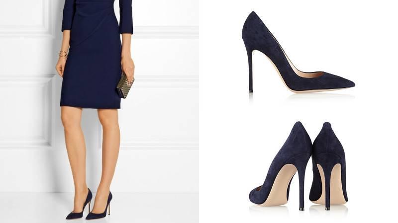 Соблазнительный образ с мини-платьем и темно-синими туфлями.