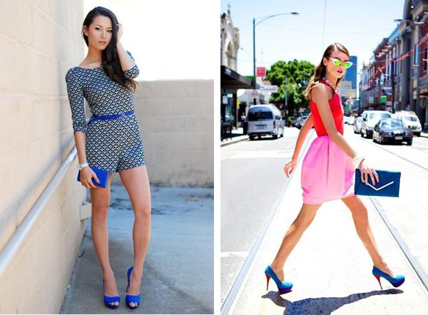 Синие туфли прекрасно смотрятся с романтичными мини-юбками и короткими шортами.