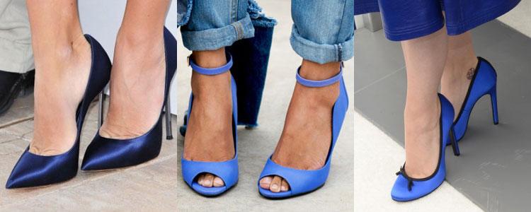 Модели синих туфель отличаются оттенками, стилями и материалами производства.