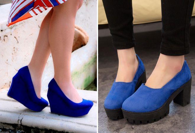 Синие туфли на танкетке или толстом каблуке - отличное решение для обладательниц пышных форм.
