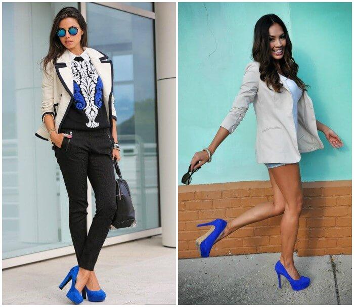 Черно-бело-синяя гамма - универсальное три для синих туфель.