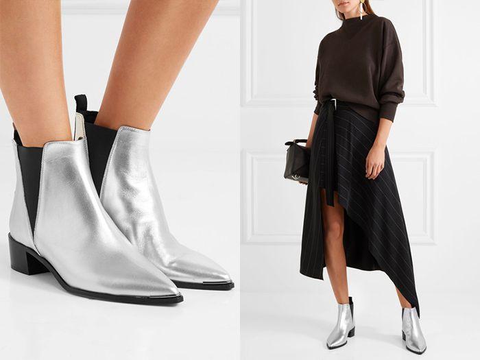 Серебристые челси – прекрасное дополнение к наряду из длинной асимметричной юбки и объемного свитера