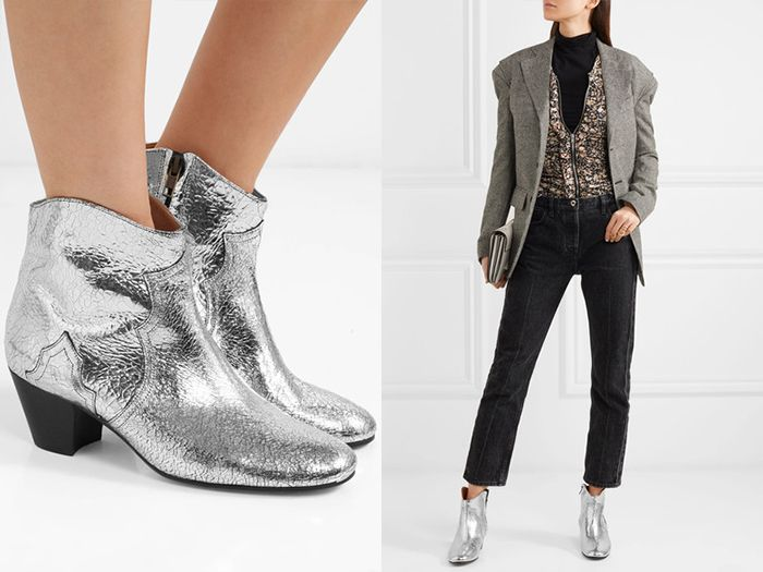 Повседневный лук с серебристыми сапожками и джинсами – органичное сочетание разностилевых деталей