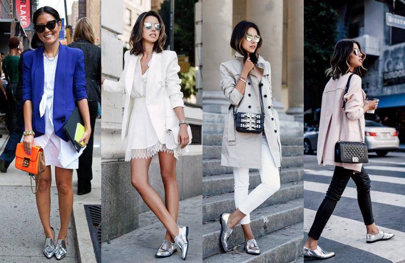 Серебристая обувь помогает создавать луки для разного времени года, сочетаясь с одеждой разных цветов