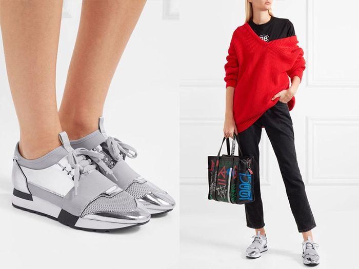 Контрастные футболка и яркий свитер – лучшие дополнения к стильным кроссовкам цвета серебро