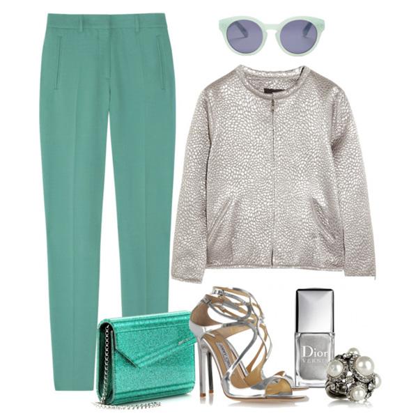 Комплект одежды с брюками и сумочкой ярких оттенков поможет создать в сочетании с серебристыми босоножками незабываемый праздничный аутфит