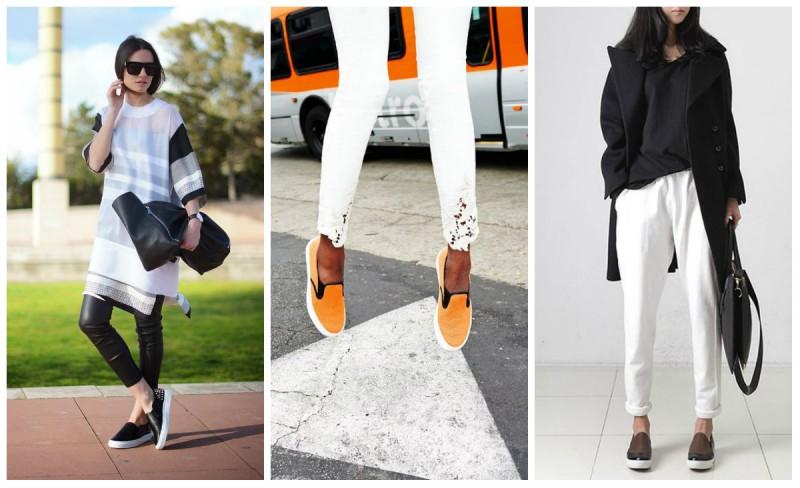 Слипоны отлично смотрятся в сочетании с классическими черными и белыми брюками.