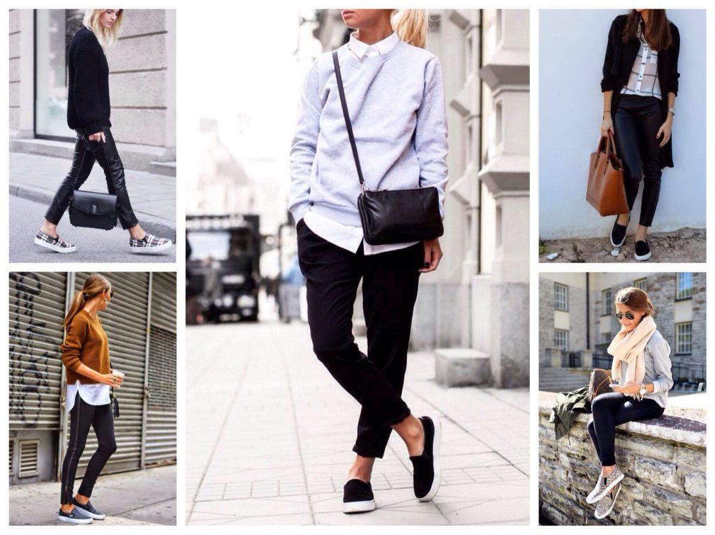 Черные брюки в сочетании со слипонами - лучший базис для эффектных повседневных луков.