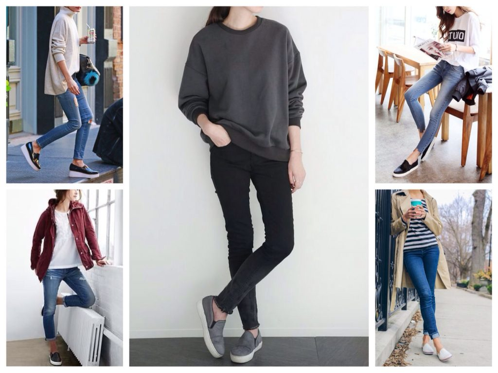 Слипоны с джинсами смотрятся великолепно в любом сочетании.