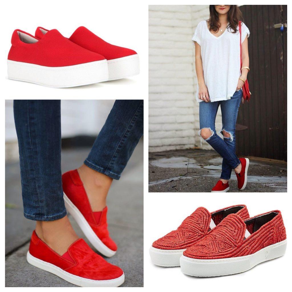 Красные слипоны в сочетании с синими джинсами - уникальное и яркое решение.