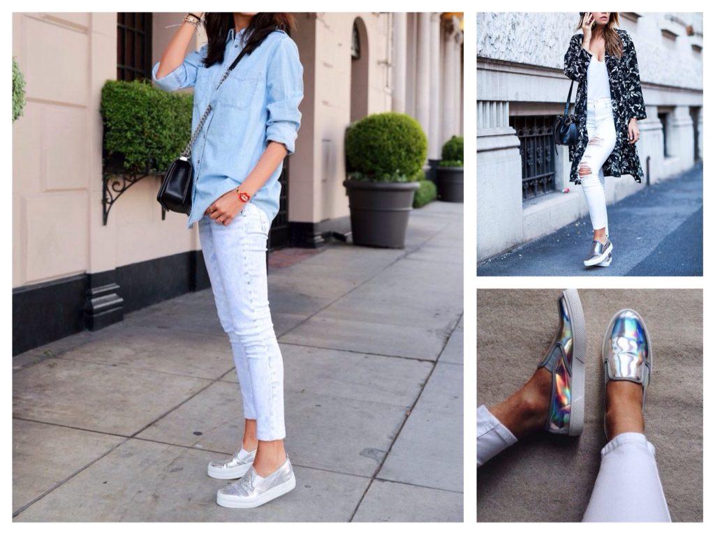 Серебристые слипоны отлично дополняют луки со светлыми джинсами.