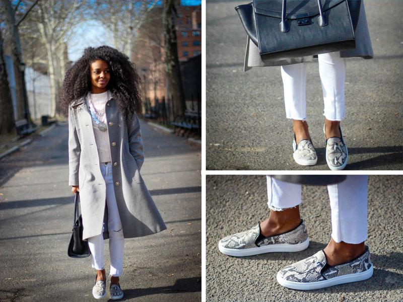Модный лук в светлой гамме с укороченными белыми джинсами и слипонами.