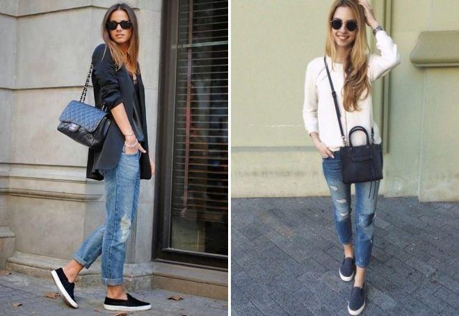 Рваные джинсы и темные слипоны - отличная основа для повседневного образа.