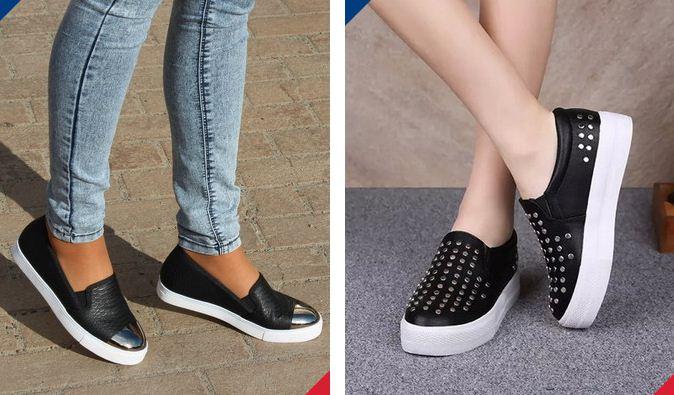 Черные слипоны на белой подошве в сочетании с джинсами - модная фишка этого года.