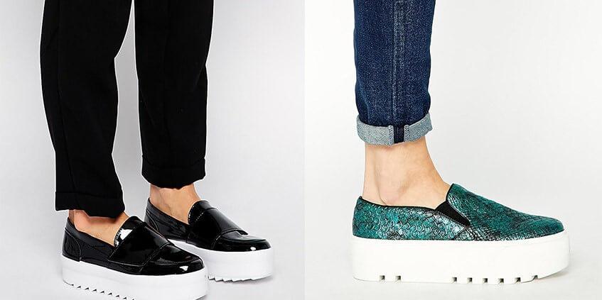 Слипоны на высокой платформе смотрятся эффектно и броско, прекрасно сочетаются с джинсами.