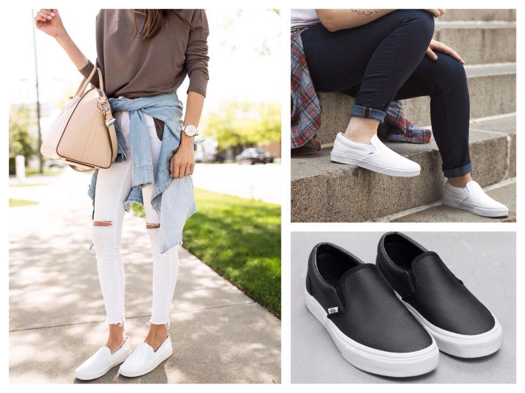 Черные и белые слипоны и- классическое решение обуви под джинсы.