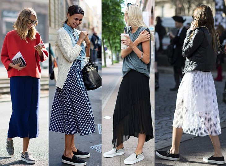 Снова модные миди – отличное дополнение к слипонам разных цветов и фактуры