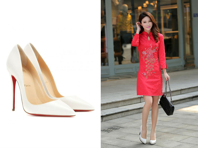 Красное платье и белые туфли - классическое сочетание для модных луков.