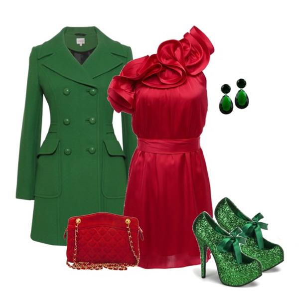 Красно-зеленые ансамбль беспроигрышный для элегантного лука.