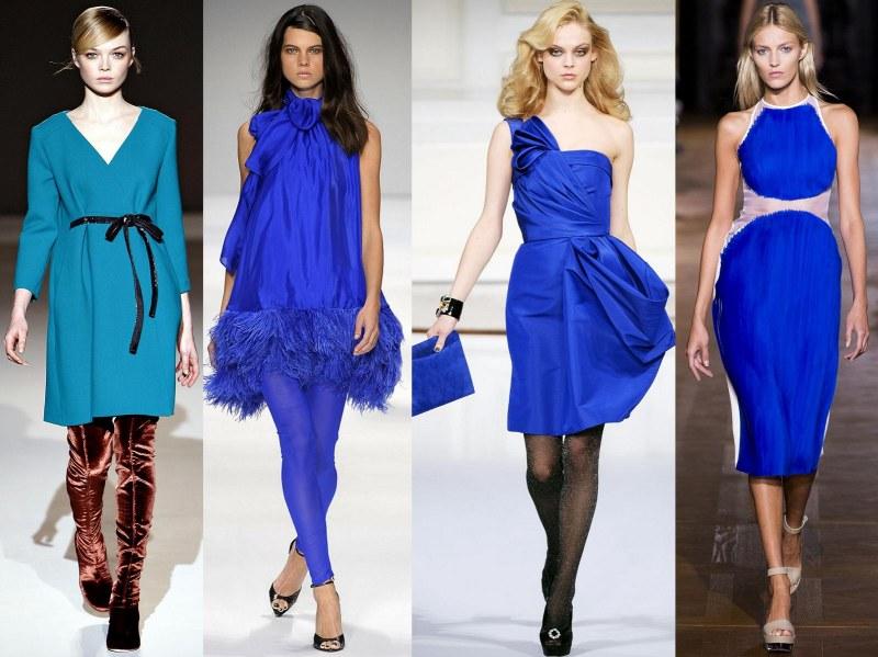 Универсальность синего цвета – широкий простор для фантазии дизайнеров и леди всех цветотипов при формировании луков с платьем и туфлями