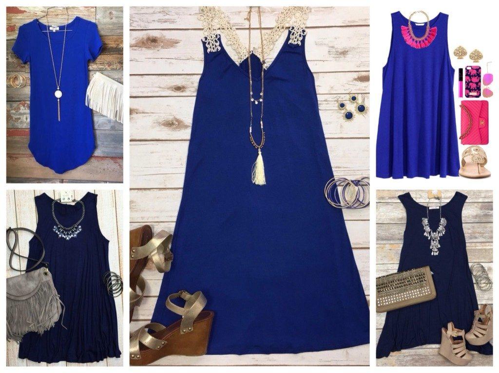 Леди, которые предпочитают высокий каблук, стилисты предлагают комфортную альтернативу к ансамблю с синим платьем А-силуэта – туфли на танкетке