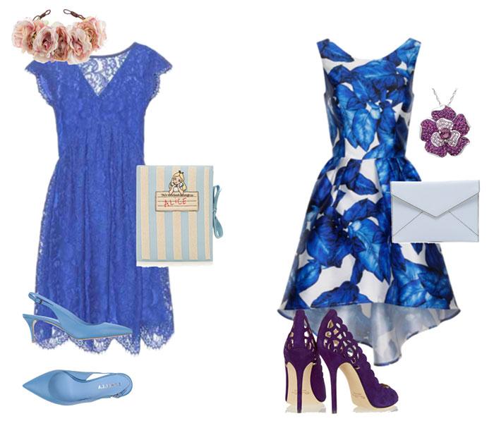 Лучшими материалами для туфель, создающих стильные луки с синим платьем, выступают натуральная кожа и респектабельная замша
